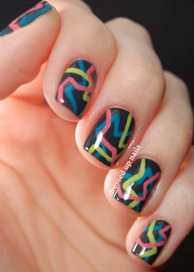 80s Party Geometric Nail Art 3