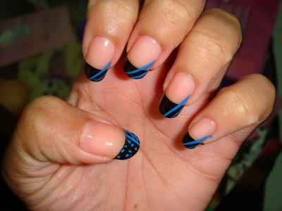 Black And Blue French Tip Nail Art Design Amazingnailart