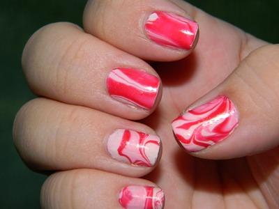 Red And White Marble Nail Art Amazingnailart