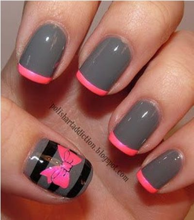 Hot Pink Grey Nail Art Amazingnailart