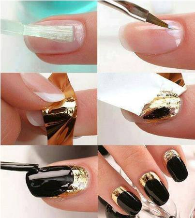 Manicure Wonderhowto Showcases Their Topic On How To Use Gold Foil Your Nails