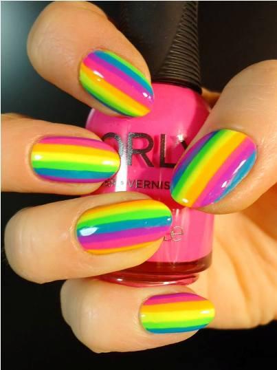 How To Paint Neon Rainbow Stripes on Nails | AmazingNailArt.org