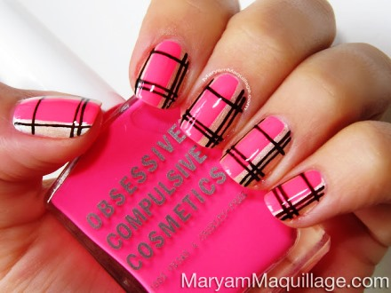easy nail art tutorial for beginners plaid pink