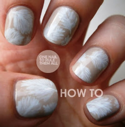 White Feathers On Nude Base Nail Art Design Amazingnailart