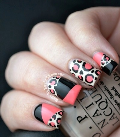 An Easy Way Of Combining Color Block And You Classic Leopard Print Nail Art Deisgn