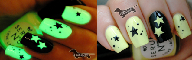Glow in the dark nail art amazingnailart you dont have to be afraid of the dark with this glow in the dark nail art idea with stars and a heart prinsesfo Gallery