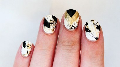 Gold and black splatter nail art tutorial amazingnailart a very interesting combination of gold and black splatter nail art and chevron nails in one prinsesfo Choice Image