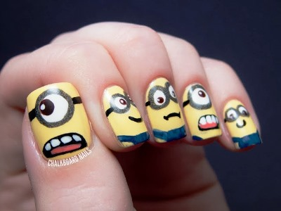 minion-nail-art-4 s - Cartoon Inspired Nail Art Ideas AmazingNailArt.org