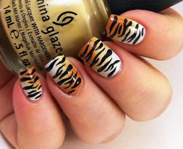 Tiger inspired nail art tutorial | AmazingNailArt.org