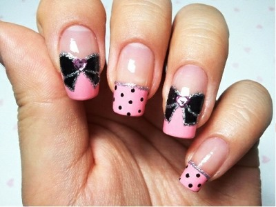 Bow Nail Art With Glitters Ideas And Tutorial Amazingnailart