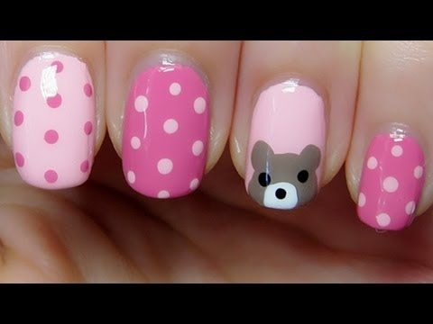 How To Easy And Cute Bear And Polka Dots Nail Art Amazingnailart
