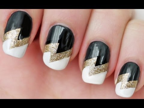 easiest lightning bolt nail art tutorial for beginners