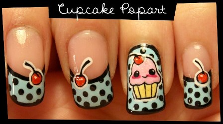 Cupcake popart nail art no stickers amazingnailart heres a very delicate cupcake nail art tutorial that doesnt use any stickers just pure art prinsesfo Images