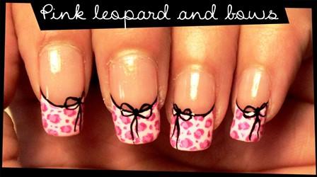 Pink Leopard Bow Nail Art Design Amazingnailart