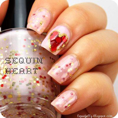 Sequined Heart Gel Nail Art Gallery Amazingnailart