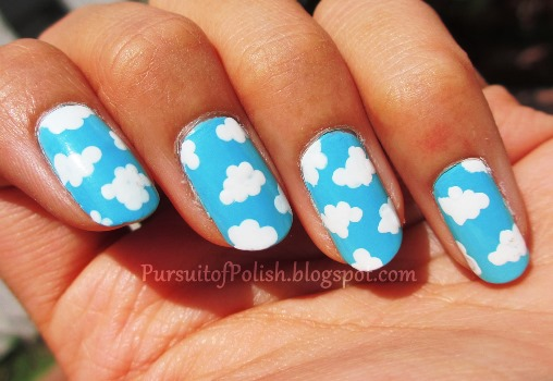 Fluffy Clouds Nail Art Tutorial Amazingnailart