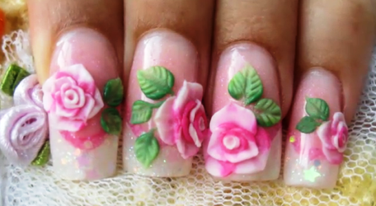 How To Do Pink Acrylic Rose Nail Art Amazingnailart