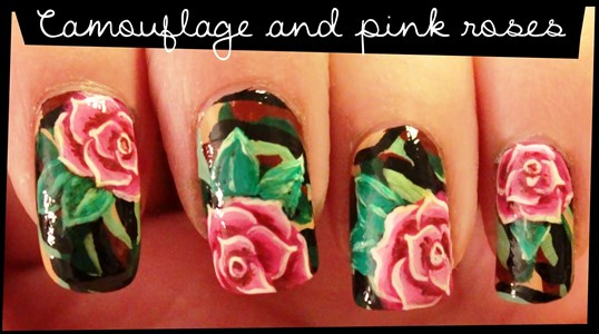 Camouflage pink roses nail art tutorial amazingnailart this nail art idea is very easy yet it gives you that artistic look and that edgy effect using a camouflage and a rose prinsesfo Gallery