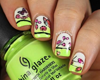 sunday stamping  spring nails fo short to medium nails