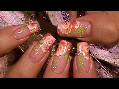 How To Paint A One Stroke Flower Rose Nail Art Design Tutorial