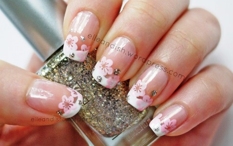 Cherry blossom french manicure nails konad stamping with freehand pp1150415 0038632651812l s prinsesfo Images