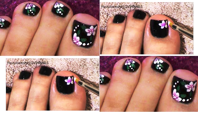 balck toe nail art