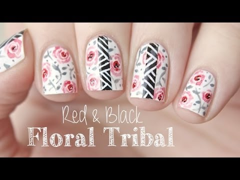 Red black floral tribal nail art amazingnailart another edgy but girly nail art design from jaunty juli learn how to create this floral water color nail art design with a bold tribal twist on the link prinsesfo Choice Image