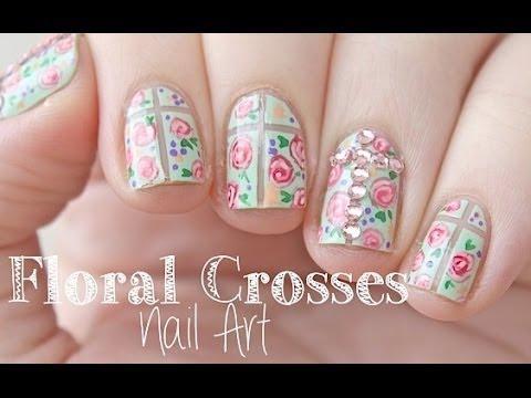 Mint Floral Crosses Nail Art Design Amazingnailart
