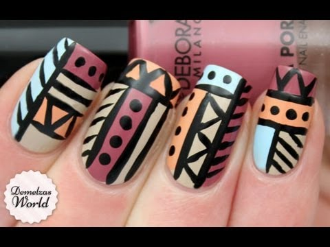 Aztec tribal nail art tutorial from demelzas nails this is the first tribal nail art tutorial i will share with you this week prinsesfo Choice Image