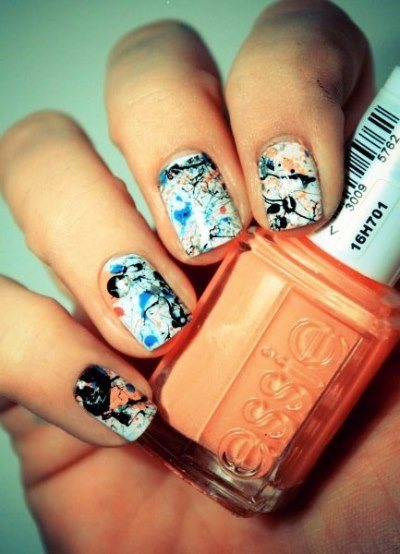 Cool Nail Art Ideas Using Black White And Orange Polish