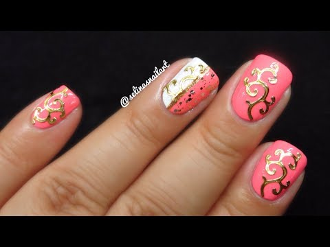 Pink And Golden Nail Art Tutorial And Review Amazingnailart