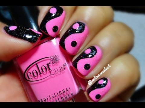 Hello Las Today S Nail Art Idea And Tutorial Is A Pink Black Yin Yang Design This Super Short Easy So I Hope You Like It