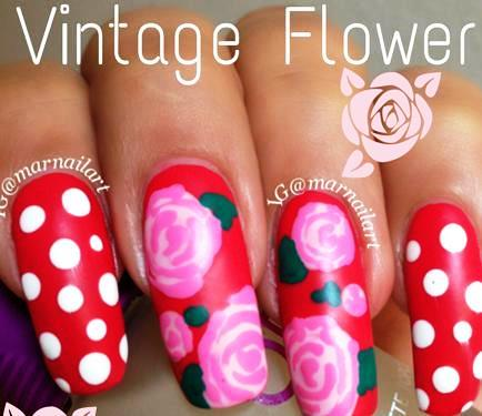 Vintage Flower Nail Art Amazingnailart