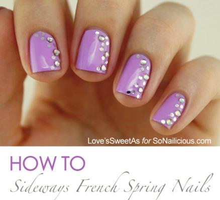 The Sideways French Spring Nail Art Tutorial Amazingnailart