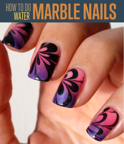 Water Marble Nail Art Technique Tutorial | AmazingNailArt.org