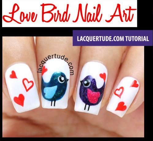 Create your very own love birds nail art tutorial even if it's not  Valentines day. - Love Bird Nail Art Tutorial AmazingNailArt.org