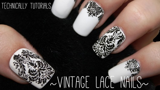 This nail art tutorial is for beginners that are looking for a nail art  idea that will give them an advance looking result but with little effort  to give. - Black And White Vintage Nail Design AmazingNailArt.org