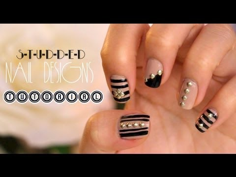 Black And Nude Nails With Golden Studs Amazingnailart