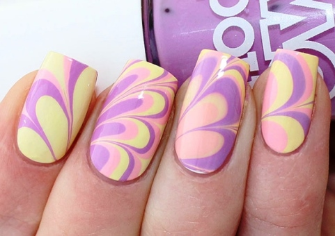 Stamped water marble nails amazingnailart watermarble nail art s prinsesfo Images