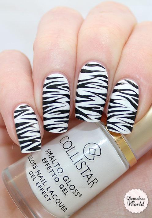 zebra nail art - Zebra Nail Art Tutorial AmazingNailArt.org