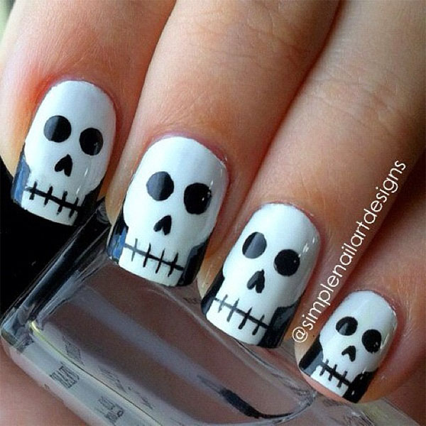 simple nail art design halloween skull nail art - Halloween Easy Nail Art