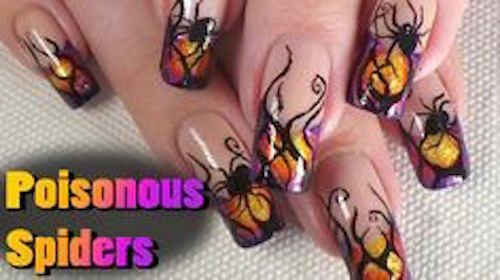 Poisonous Spiders Nail Art Tutorial Halloween Design