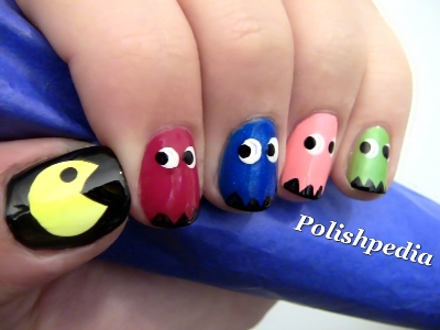 pac-man-nail-art s - Pacman Cartoon Inspired Nail Art Tutorial AmazingNailArt.org