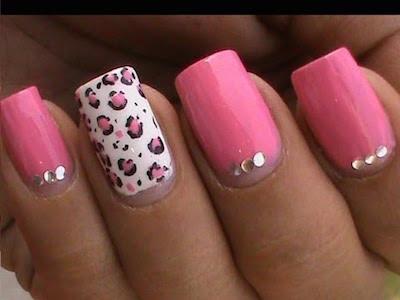 Pink Leopard Nail Art Tutorial In Rhinestones Designs