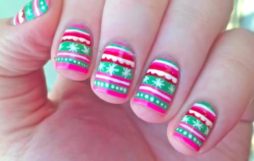 Girly And Pink Christmas Nail Art Tutorial Amazingnailart