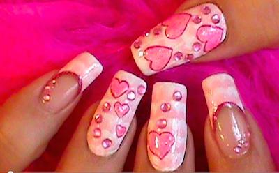 Hearts And One Stroke Technique Nail Art Amazingnailart