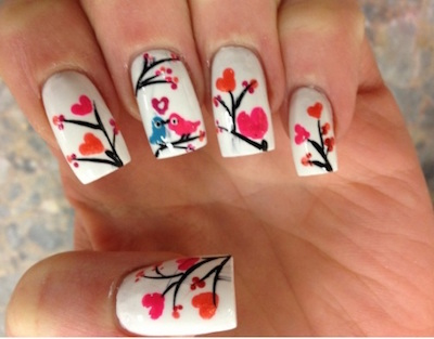29 gorgeous nail art designs for valentines day amazingnailart valentine nail art designs with love birds and prinsesfo Image collections