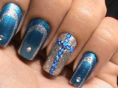 Blue Cross Glam Nail Art Design With Easy Abstract Border Nails