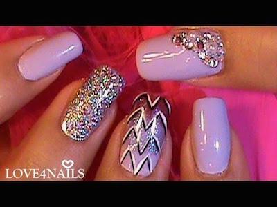 Purple Ombre Graphic Nail Art Design Tutorial Amazingnailart