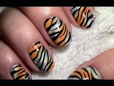 Golden Tiger Nail Art Tutorial Amazingnailart